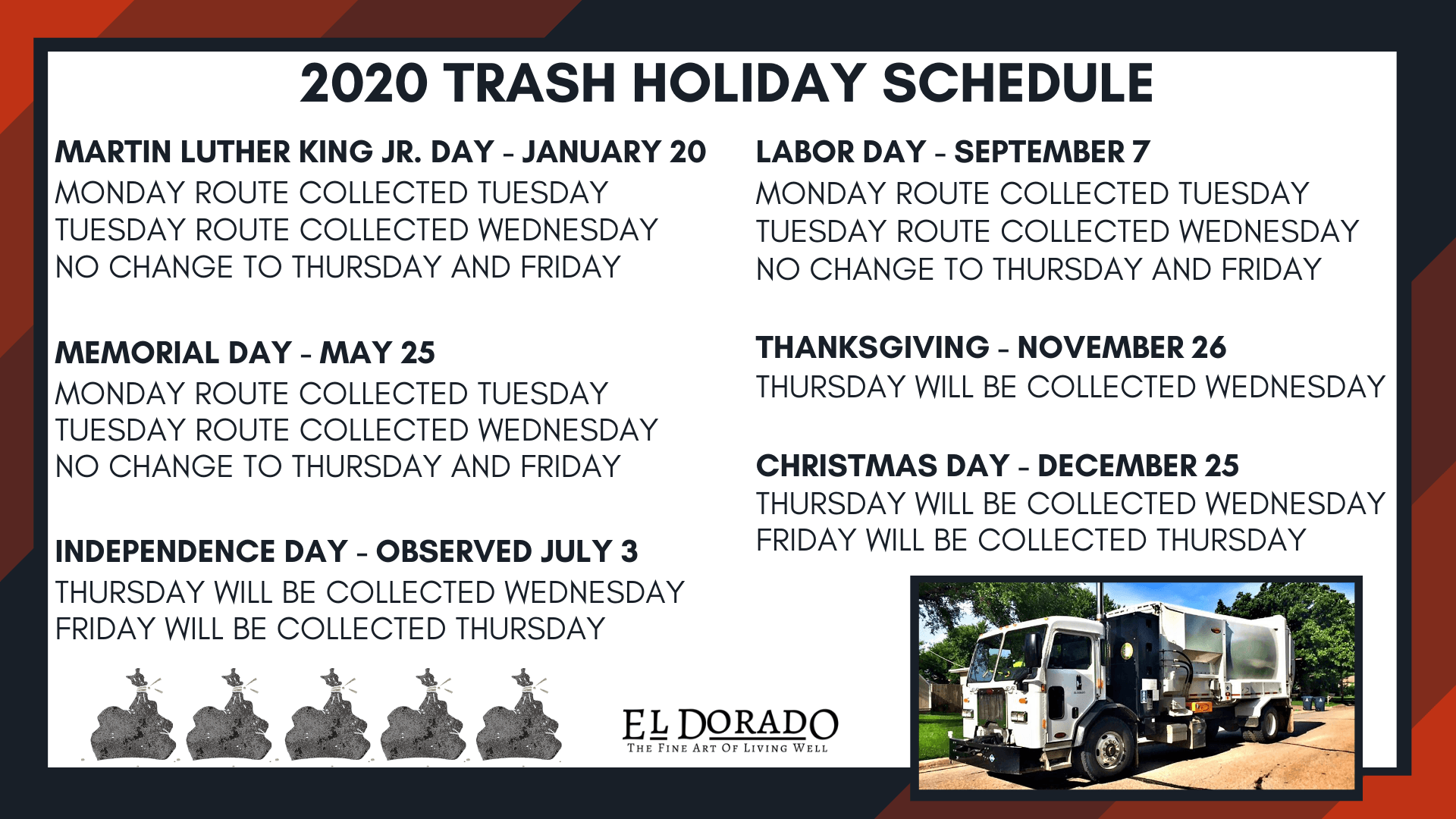 2020 Holiday Trash Schedule